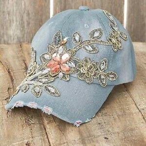 Denim Hat ~ Embellished, Distressed ~ One Size